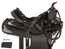 NEW 14 15 16 17 18 BLACK SILVER SYNTHETIC WESTERN TRAIL HORSE SADDLE TACK PAD