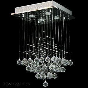 Square crystal glass droplet pendant lamp ceiling light crystal image is loading square crystal glass droplet pendant lamp ceiling light mozeypictures Gallery