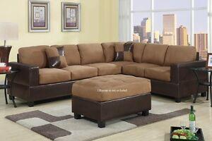Sectional Sofa Couch L Shape Set Chair Bobkona Trenton Ebay