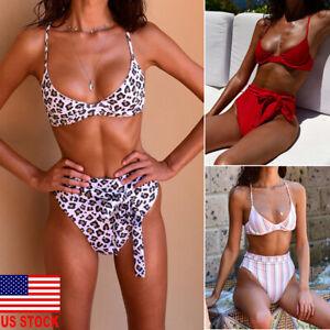 US-Women-High-Waisted-Bikini-Set-Push-Up-Bandeau-Swimwear-Swimsuit-Bathing-Suit