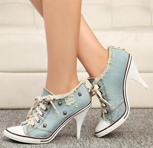 Womens-High-Heel-Rivet-Denim-Canvas-Lace-Up-Boots-Bagger-Sneaker-Party-Shoes-Sz