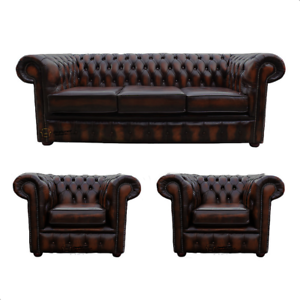 Details About Chesterfield 3 Seater Sofa 2 X Club Chairs Real Leather Handmade Sofa Suite