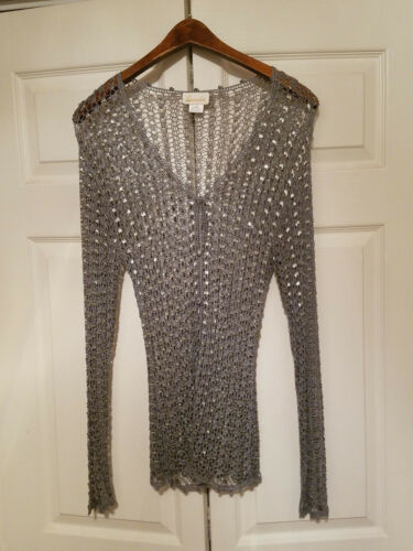 Ladies Sweater Button Lacrochet Beaded Down Designer NWOT Blue Langærmet 0HwUHqdx