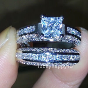 Women 18K White Gold Filled Princess Cut Cubic Zirconia Wedding