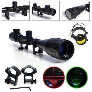6-24x50-Rifle-Scope-Red-Green-mil-dot-illuminated-Optical-Gun-Scope-w-Mounts