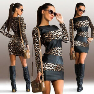 Womens-Sexy-Leopard-Print-Long-Sleeve-Leather-Splice-Short-Mini-Party-Dress-P