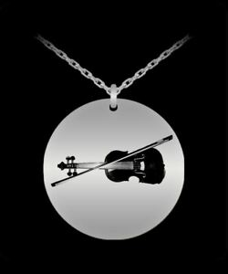 Laser engraved necklace 18k gold plated round pendant violin image is loading laser engraved necklace 18k gold plated round pendant aloadofball Choice Image
