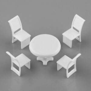 10 Sets 1 50 O Scale White Plastic Round Table Chair Kit Building