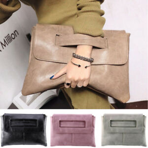 Fashion-Women-039-s-Suede-Leather-Clutch-Bag-Ladies-Evening-Prom-Handbag-Tote-Bags