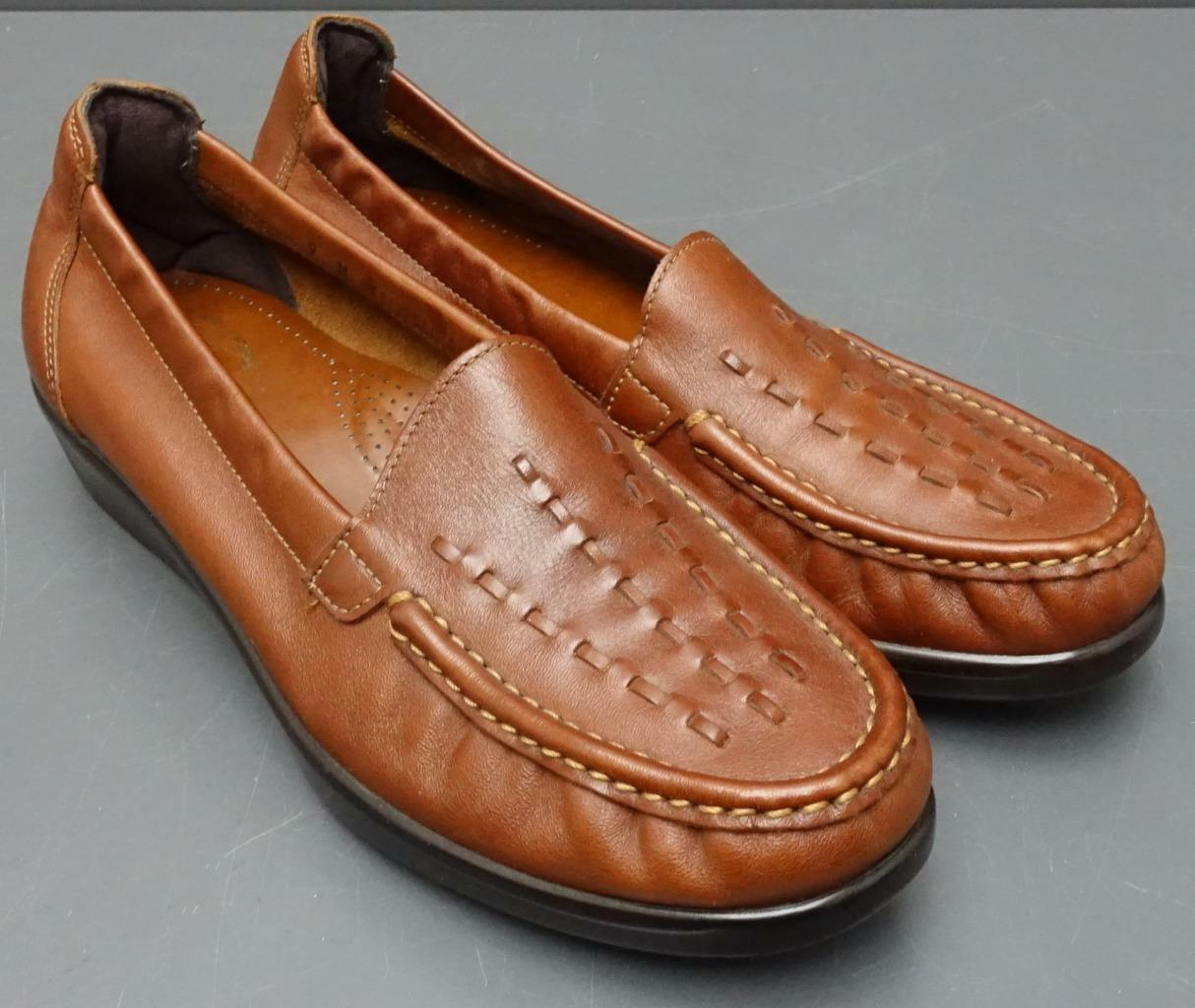 Women SAS Weave Tripad Comfort Chestnut Leather Slip On Loafer Comfort shoes 9M