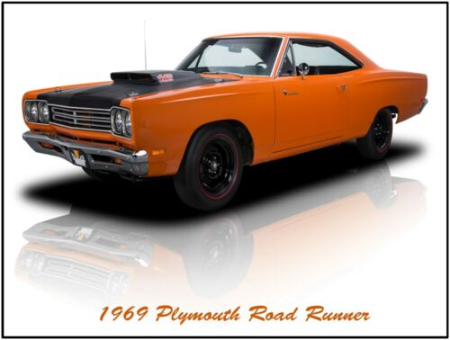 Fully Restored in Orange and Black 1969 Plymouth Road Runner 440 Metal Sign