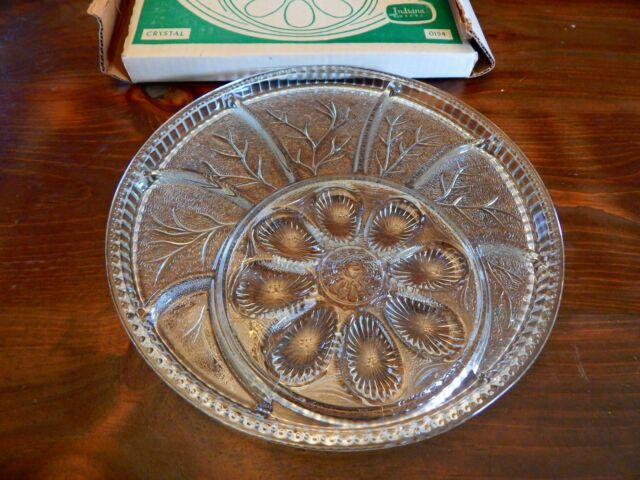 Vintage Indiana Glass Deviled Egg & Relish Plate Crystal Clear Pebble Leaf EUC