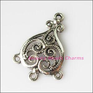 4Pcs-Antiqued-Silver-Tone-Heart-Flowers-Charms-Pendants-Connectors-25x37mm