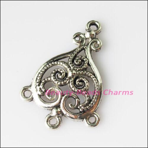 12Pcs Antiqued Silver Tone Heart Flowers Charms Pendants Connectors 25x37mm
