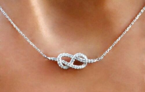 """Infinity Love Knot Diamond Necklace in Sterling Silver with Link Chain 18/"""" inch"""