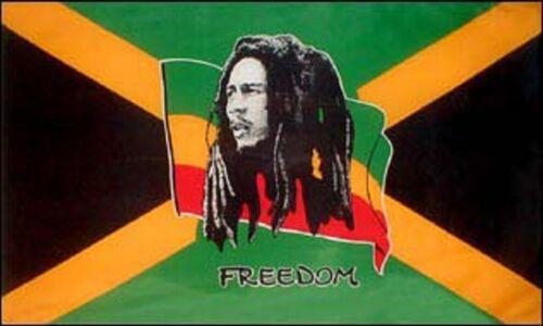 FAHNE//FLAGGE  Reggae  Bob Marley  Freedom Jamaica   90x150