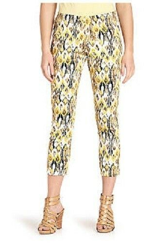 Karen Kane Sunset Yellow Vine Abstract Snake Print Capri  Pants -  98
