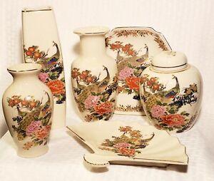 Vintage 6 pcs Japan Made Vases Urn Plate Satsuma W/ Hand Painted Peacocks Used