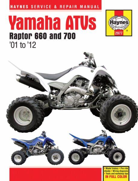 20012012 yamaha raptor 660 700 atv quad haynes service