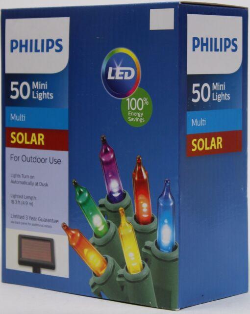 Philips Solar Powered LED 50 Multi Color Mini Christmas Lights ...