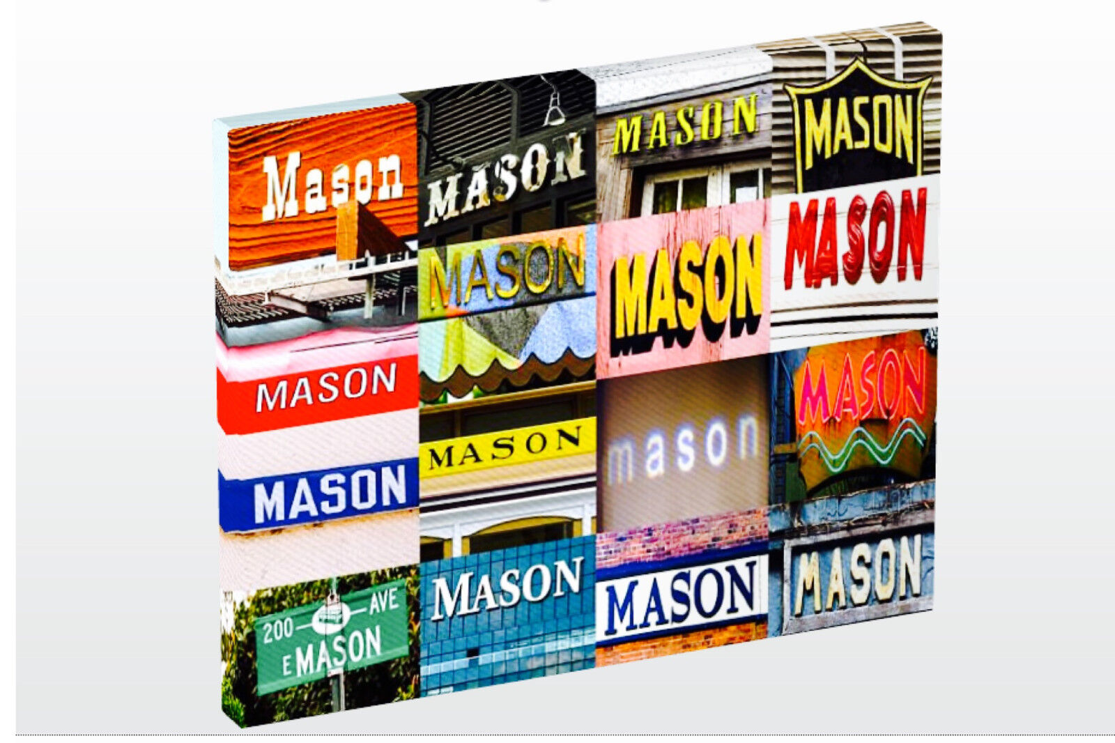 Personalized Photo Canvas featuring the name MASON in photos of signs