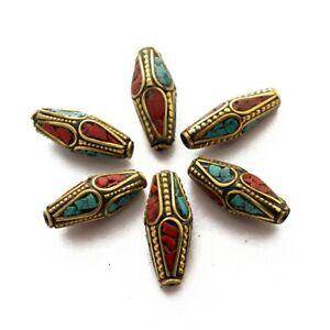 Turquoise-Coral-Brass-6-Beads-Tibetan-Nepalese-Ethnic-Handmade-Nepal-UB29
