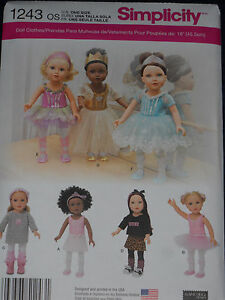 18-034-Doll-Clothes-Sewing-Pattern-Dance-Tutu-Leotard-Slippers-Simplicity-1243