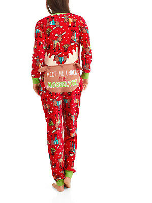 Cute Womens Christmas Pajamas.Mooseltoe Christmas Drop Seat Womens S Pajamas Adult Fleece Union Suit Back Flap Ebay