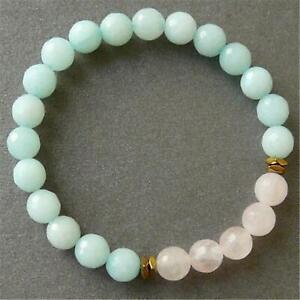 8mm-Rose-Quartz-Amazonite-Handmade-Mala-Bracelet-Bangle-Spiritua-Prayer
