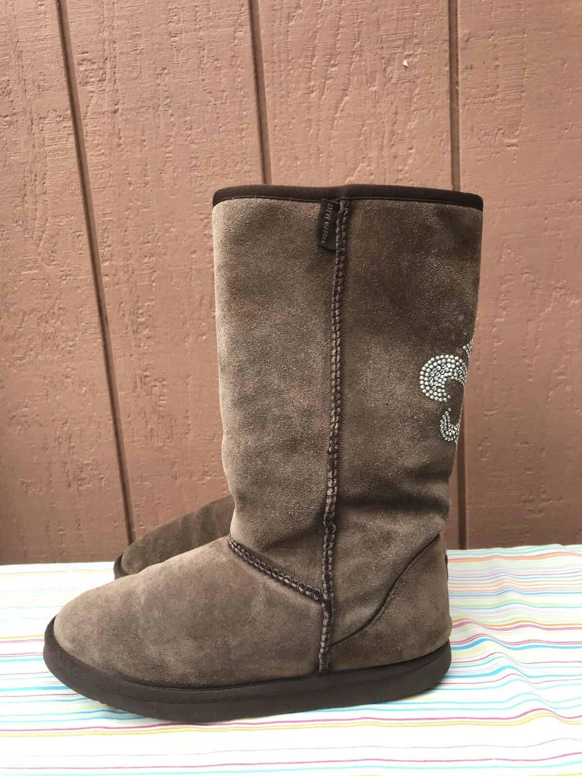 STEVE MADDEN WOMEN'S FAUX US 7.5 LEATHER UPPERS FAUX WOMEN'S FUR LINED PULL ON  BROWN BOOTS e2cb6b