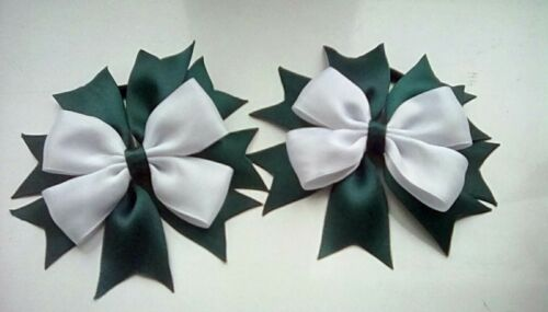 Girls Green and White Hair Bow Bobble x1 School Uniform Dance Bow FREE POSTAGE