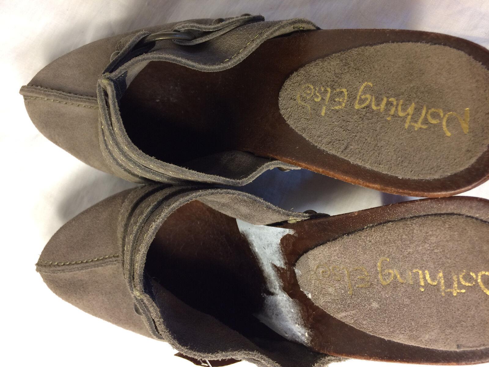 Nothing Else Mule schuhe Clog Clog Clog Wood Heel Platform grau Suede US 7.5 EU 38 damen 67f15e
