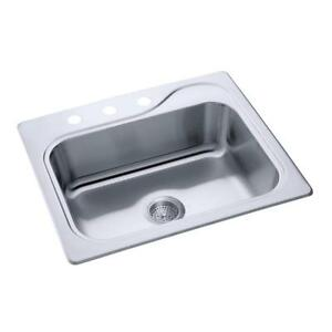 Details about Sterling by Kohler Southhaven 1140X-3 Single Basin Drop In  Kitchen Sink