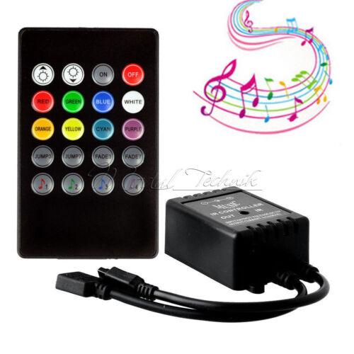 12V DC Music Sound Activated Controller For RGB LED Light Strip 20 Keys Remote