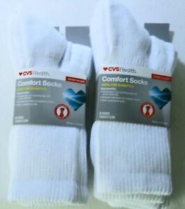 CVS-Health-Crew-Length-Comfort-Socks-For-Diabetics-White-Unisex-S-M-4-Pairs