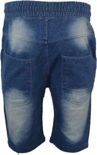 Mens Denim Distressed Ripped Frayed Style Shorts Elasticated waist XS-XXL 28-42