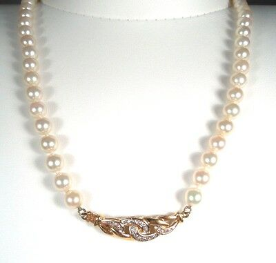 PEARL 6mm & DIAMOND .10 ct Clasp 18k YG NECKLACE – GAL Appraisal