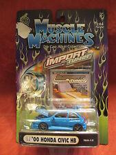 Muscle Machines  '00 Honda Civic HB  Blue  T02-13  1:64 scale  NOC  W-03