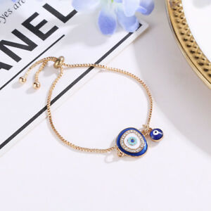 Women-039-s-Fashion-Jewelry-Lucky-Crystal-Evil-Eye-Gold-Plated-Chain-Charm-Bracelet