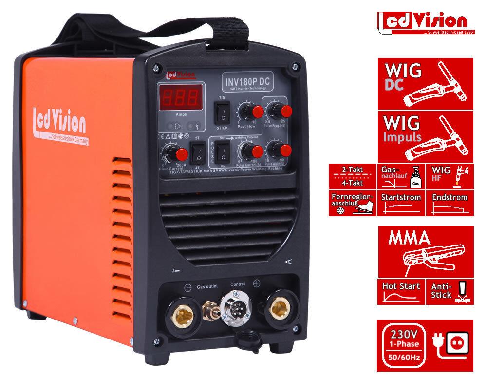 INV-180P Pulse Inverter Schweißgerät DC WIG TIG E-Hand MMA 5-180A 2/4-Takt 230V