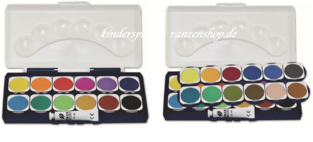 Deckweiß Tuschkasten Malkasten Wasserfarben Deckfaben  24 Farben Pinsel