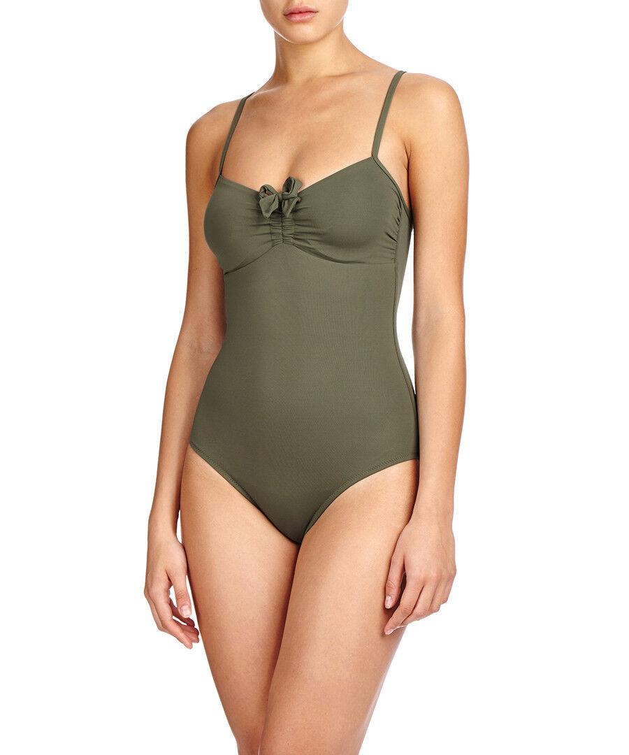 NWT MELISSA ODABASH 46 10 swimsuit  320 Aruba olive 1pc tank maillot designer