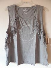 """AE American Eagle XXL Gray Muscle Tank Top Shirt """"Where the Heart Roams"""" Fringed"""