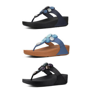 b305d8a71ec Image is loading FitFlop-Honeybee-Jewelled-Leather-Toe-Post-Sandals-RRP-