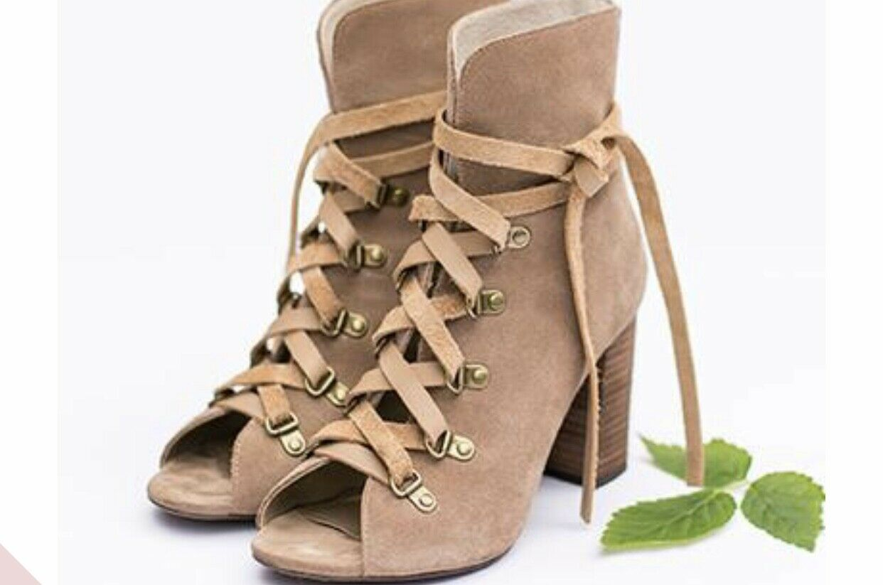 New Joyfolie Raven Tan Suede Leather Lace Up Chunky High Heel shoes Size 10.5