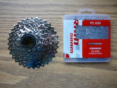 SRAM PG-830 11-32 Tooth Cassette 8 Speed /& SRAM PC-830 Chain 114 Link Combo Set