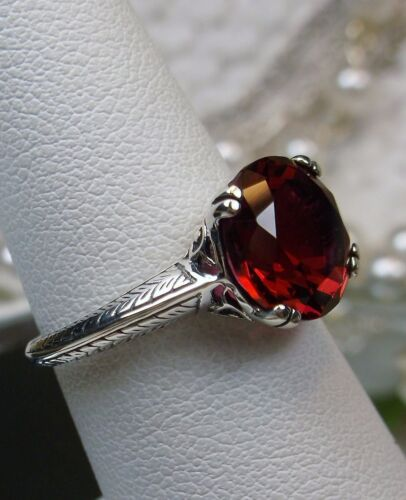 3ct*Red Ruby* Sterling Silver Art Deco 1930s Filigree Ring Size {Made To Order}