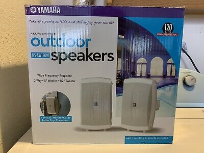 Pair, White Yamaha NS-AW150WH 2-Way Indoor//Outdoor Speakers