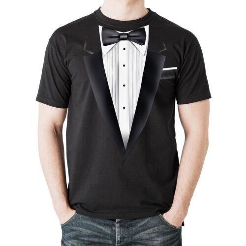 Fancy Dress Top Quality Men/'s Black Cotton T-Shirt NEW Black Tuxedo