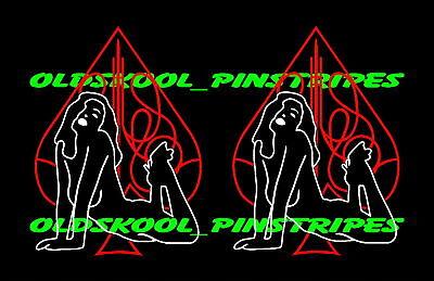 Old School Tank Pinstripe Naked Dancer Nude Pin Up Girl Vinyl Decal Set Ebay